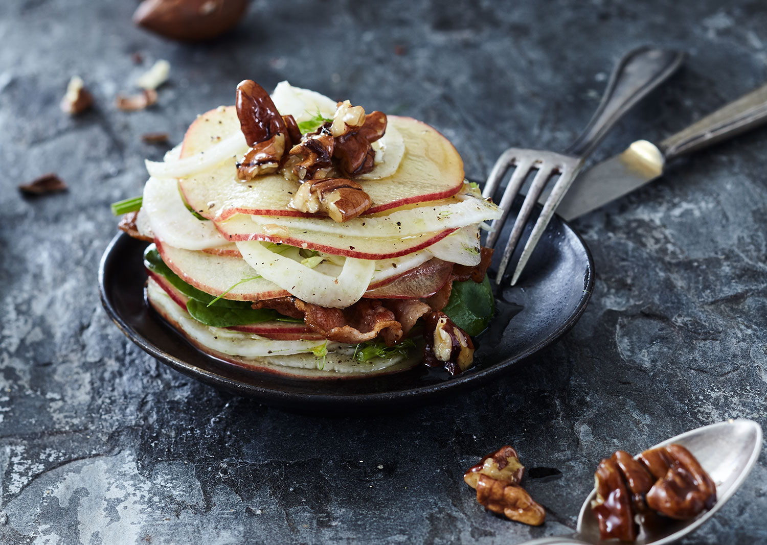 Apple and fennel salad, with bacon and pecan nuts This is